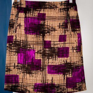 Beige Pencil Skirt with Black and Purple Print